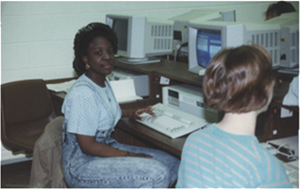 Young adults working at computers
